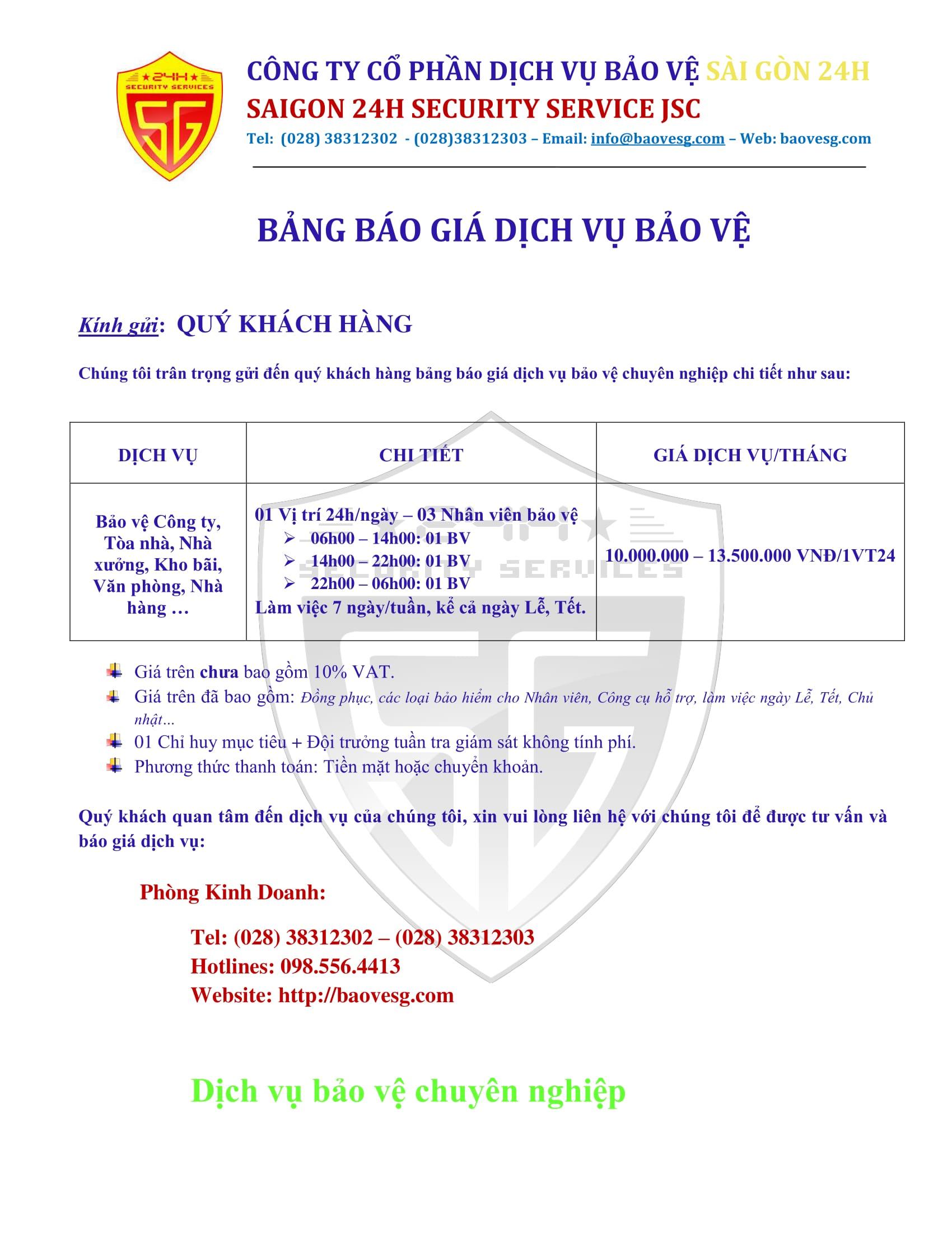 BANG BAO GIA 2018